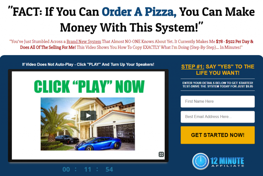 12 Minute Affiliate System Scam